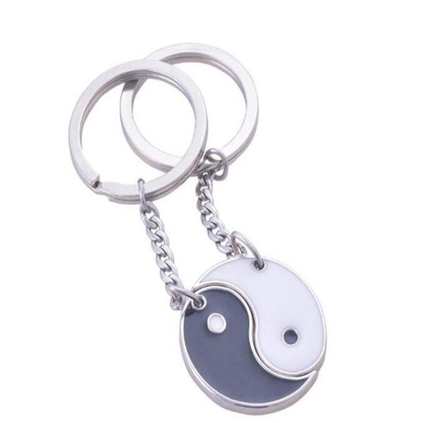 Enamel Yin Yang Keychain Vintage Silver Dangle Black White Couple Key Ring Love Key Chain For Keys Car Fashion Jewelry Craft NEW