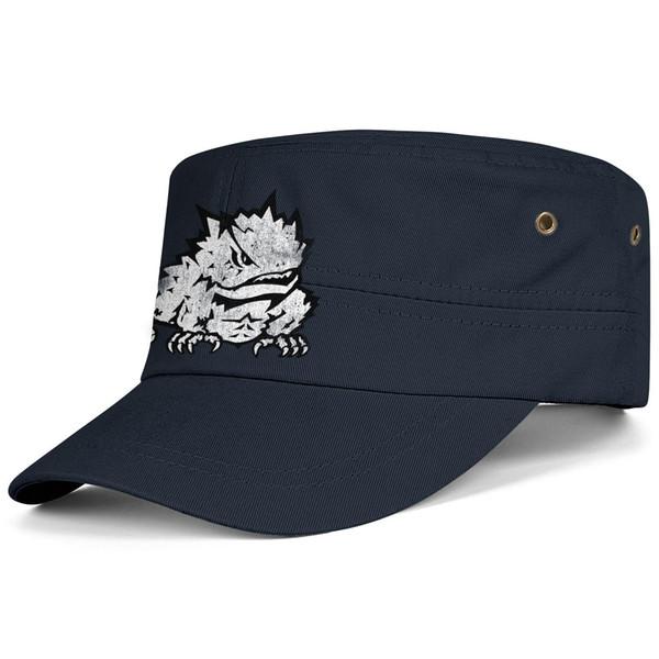 TCU Horned Frogs football old Print logo Black Men Women Military Hat Cool Cadet Army Tactical Cap Flat Cap Student Military Cap Ba