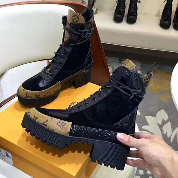 2019 TOP Designer Mulheres Laureate Plataforma Botas De Deserto Triplo Preto Das Mulheres de Fundo Grosso Martin Boot Moda Sapatos de Tornozelo Com Caixa