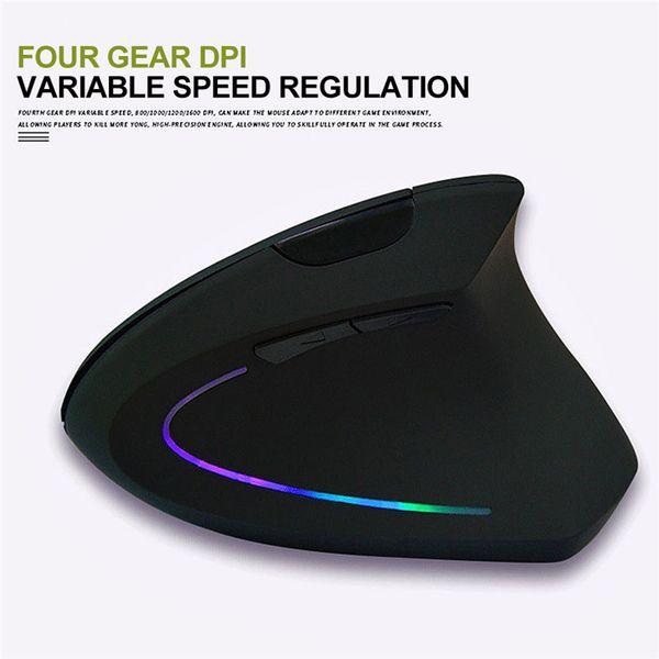 Новая беспроводная мышь Эргономичная оптическая 2.4G 800/1200 / 1600DPI Красочный свет наручные Healing Vertical Мыши Gaming Mouse Gamer