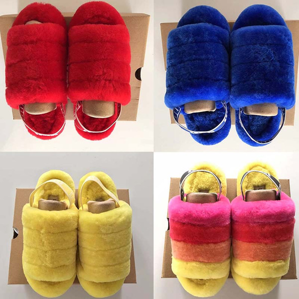 Fluff Yeah Slide Neon Yellow Blue Furry Warmer Slipper Pantoufles de Diseñador de lujo Sandalias de mujer Pantoufle Slipper de piel para mujer Hausschuhe