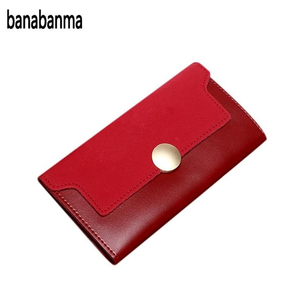 banabanma Fashion Women Trifold PU Leather Lady Handbag Wallet Button Clutch Card Case Coin Bag Matting Bag Christmas Gifts ZK30