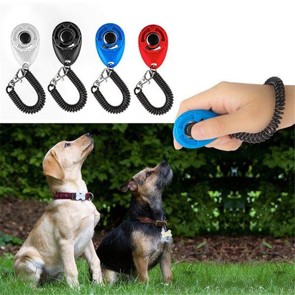 Pet Bark Clicker Deterrents Trainer Pet Dog Puppy Training Adjustable Sound Wrist Key Chain Universal Dog Training Clicker