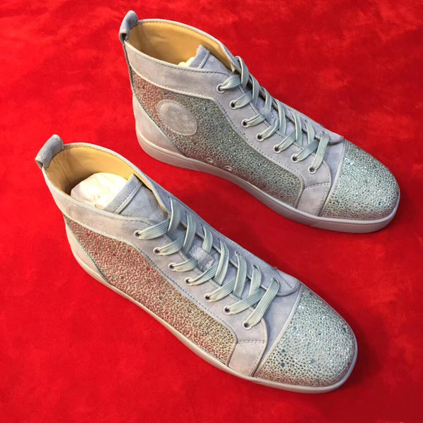 Designer famosa Glitter de couro com strass Cristal Red inferior Sneakers Mulheres unissex, Homens Red Sole Alto Top calçados casuais - O melhor presente