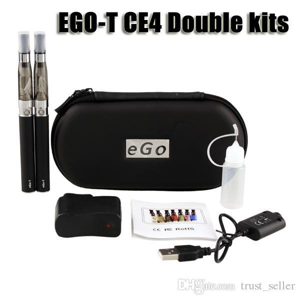Ego t ce4 double starter kit 1.6ml ce4 atomizer clearomizer 650 900 1100mAh ego-t battery zipper case colorful