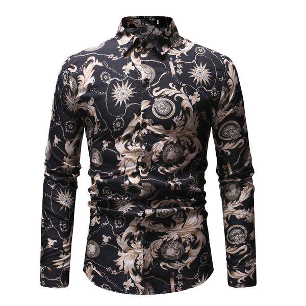 JAYCOSIN Camisa de hombre Moda Flor Tops y blusas Nuevo patrón Casual Impresión de solapa Camisa de manga larga Ropa de hombre Primavera