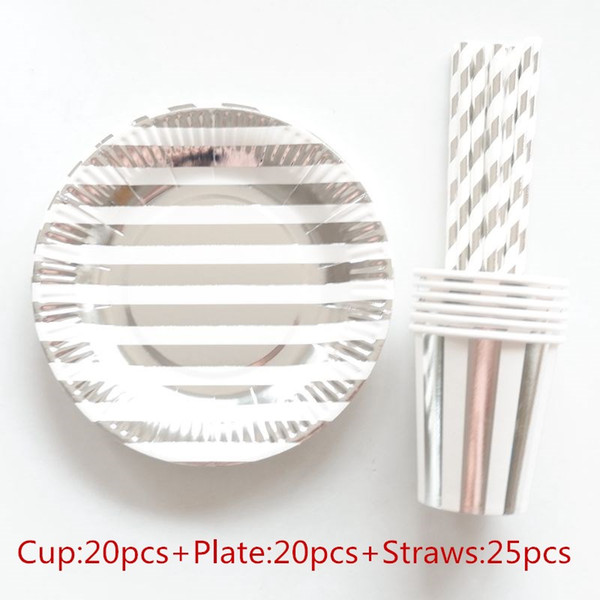 top popular 65pcs 20 People Party Paper Plates Napkins Cups Straws Disposable Tableware Metallic Silver Stripe Theme Party Wedding Decor 2021