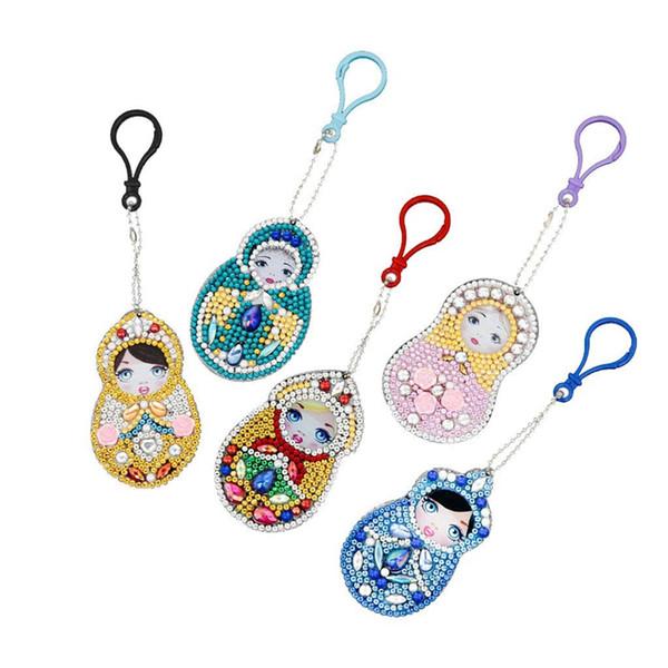 5 Elmas Boyama Anahtarlık Set, 5D Yapma Diy Tam Matkap Özel Şekil Elmas Paintingy Bebek Anahtarlık Anahtarlık Telefon Char