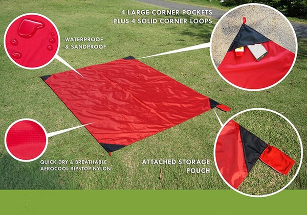 Mini Pocket Outdoor Camping Beach Picnic Mat Pad Blanket Baby Climb Plaid Blanket Waterproof Moistureproof Sleeping Pad Portable & Foldable