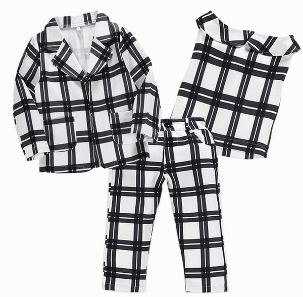 2019 chidlren girls black white big plaid coat+bosom shirt+long pant spring form 3pcs outfit suit sets B11