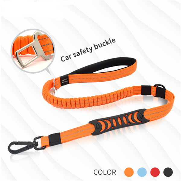 Car Seat Belt For Dog Pet Traction Rope Cushioning Retractable Reflective Belt Dog Collar Leash 132