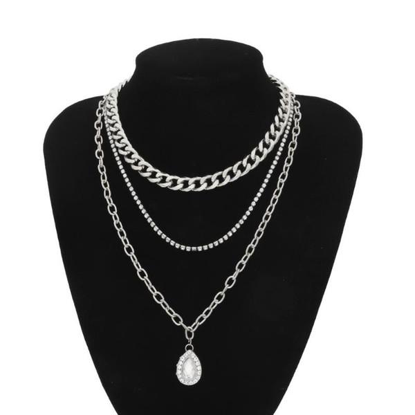 Goutte d'eau pendentif en cristal Collier ras du cou pour femmes punk vintage strass serpent Chunky chaîne collier Bijoux Cadeaux