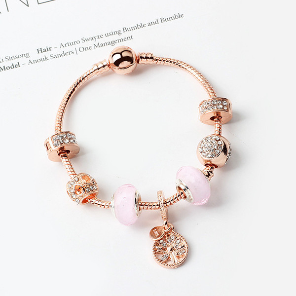 top popular Pink magic beads bracelet 925 silver Pandora bracelet life tree pendant bracelet magic beads Pandora gold beads as a Diy jewelry gifts 2021