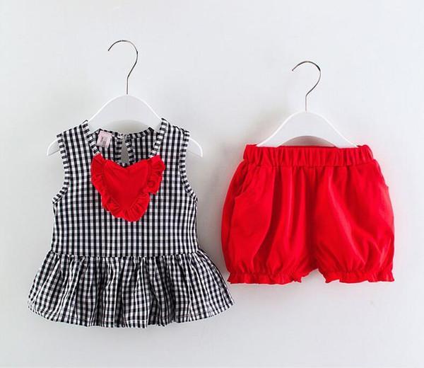 good quality girls summer clothing set 2019 fashion children plaid 2pcs cotton outfits casual vest+short tracksuit set for kids suit