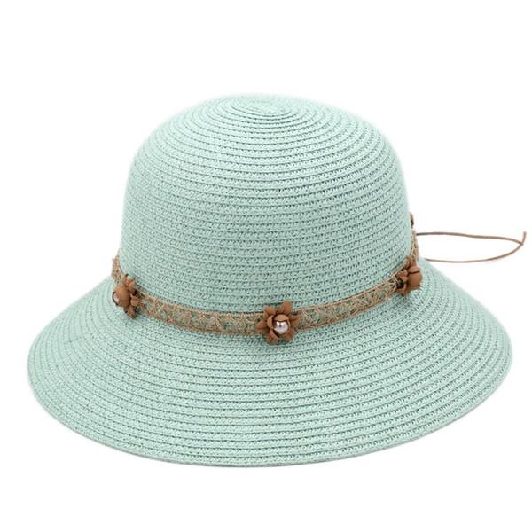 Floppy Brim Women's Ladies Straw Cloche Hat Summer Beach Sun Bowler Cap Flower Lace Ribbon Hatband