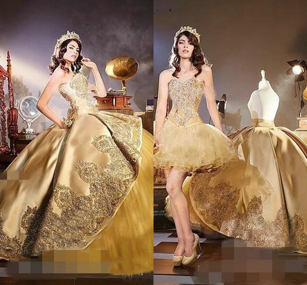 Amazing Gold 2019 Sweetheart Quinceanera Prom Dresses With Detachable Train Luxury Appliques Ball Gown Evening Party Sweet 16 Dress Vestidos