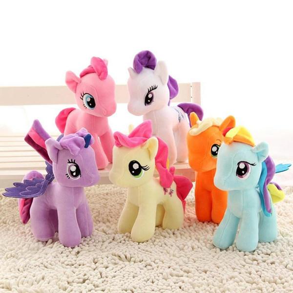 20cm Karikatur-Einhorn-Plüsch-Puppe-Kinder-Regenbogen-Pferdchen weiches Stofftier Spielzeug Einhorn Puppe-Partei-Bevorzugung 6 Farben LJJ_A333