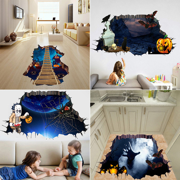 best selling 3D Decorative Wall Sticker Halloween Theme Series Haunted House Pumpkin Horror Wall Stickers Home Living Room Bedroom Decoration Sticker 06
