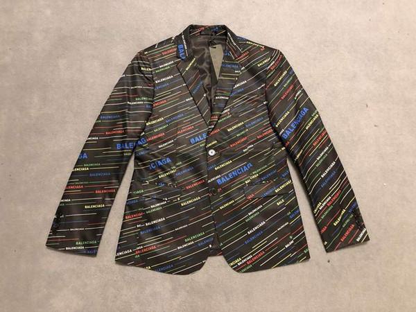 2019 París Francia moda para hombre Chaquetas de diseñador Blazer línea totalmente oblicua letra impresa para hombre diseñador chaquetas de calidad superior de lujo de los hombres blazer