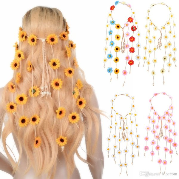 Indian Hair Headband Hair Accessories 2019 Festival Women Hippie Copricapo regolabile Boho Girasole Fascia per capelli
