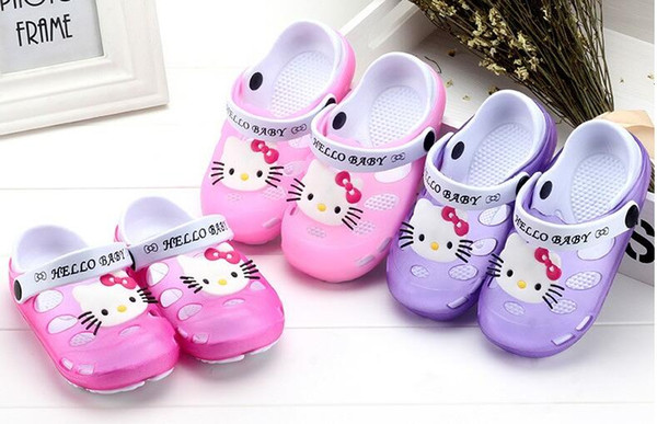 a9ad32aa7 Summer Baby Girl Sandals Shoes Children Hello Kitty Shoes Toddler Girls  Sandals Kids Slides Slippers Sandals
