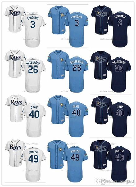 custom Men women youth Tampa Bay Jersey Rays 3 Evan Longoria 26 Brad Boxberger 40 Wilson Ramos 49 Tommy Hunter Blue White Baseball Jerseys