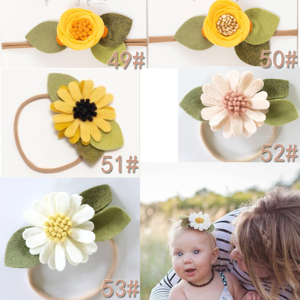 Hot ! Baby Girls Kids Lovely Roses Hair Bands Vintage Felt ball Flowers Hair Accessories Pretty Headbands Infant Headbands 107 styles
