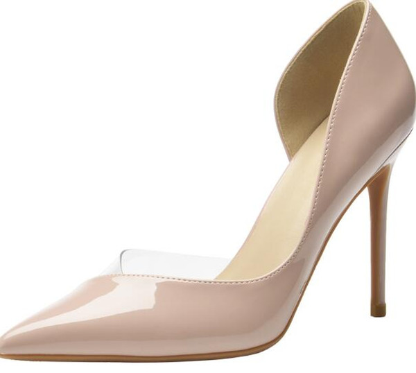 2019 designer high heels 8 10 12CM leather pointed shallow shoes rubber 35-42 08