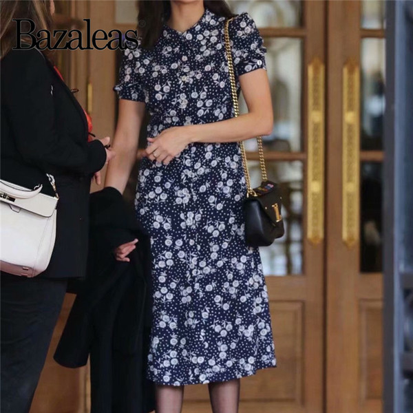 Bazaleas France Fitted Vestidos Center Buttons Flowing Midi Dress Vintage  Navy Sunflower Print Summer Dress Drop Shipping White Dress Cocktail Party