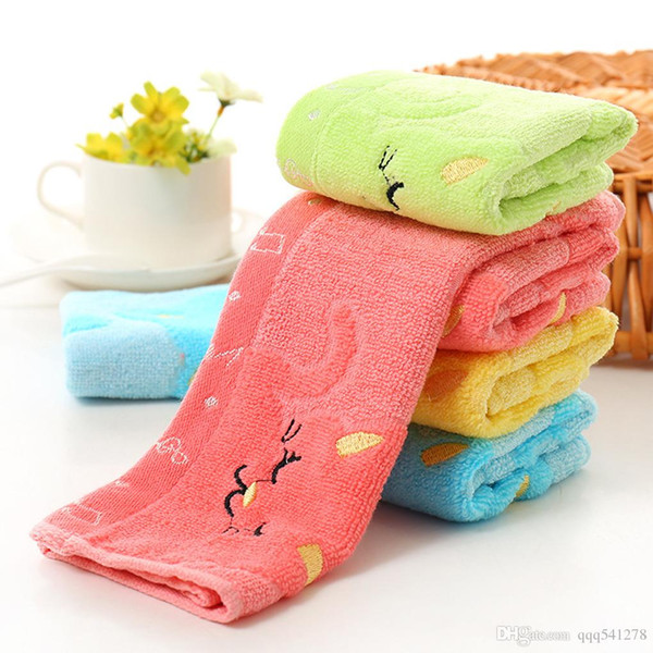 Cute carton printing and dyeing towel 25*25cm Bamboo Fiber Solid Color Non-twist Towels with Cats Patterns Style Towels