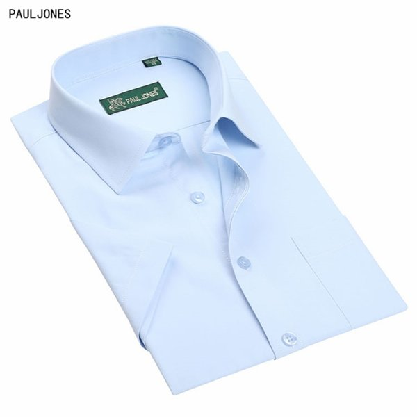 PaulJones Brand Cheap Plus Size 5XL High Quality Regular Fit Men Short Sleeve Business Shirts Summer Classic Solid Male Clothing #389450