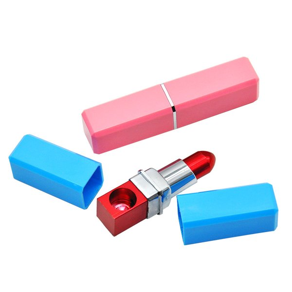 Lipstick Pipe Smoking pipes Tobacco Herb Pipes Creative Pipe 84MM Long Made of Aluminum and ABS.Color Random