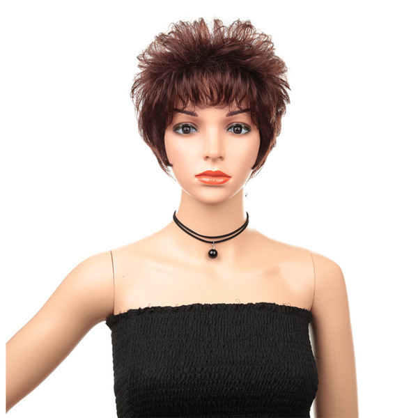 Hot Sale New Fashion Fluffy Temperament Solid Color Short Wave Volume Real Human Hair Wig Set