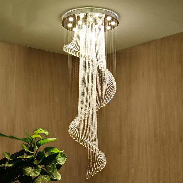 Moderne lange Spirale Kristalltreppe Kronleuchter Beleuchtung runden Design Flur kreativ Restaurant hängen Leuchten