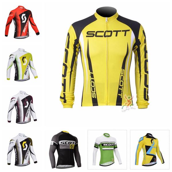 SCOTT team Respirant Séchage rapide Vélo Manches Longues Maillot Slim Fit Loisir Mince et Léger Tendance Chaude Vente T-shirt X62121