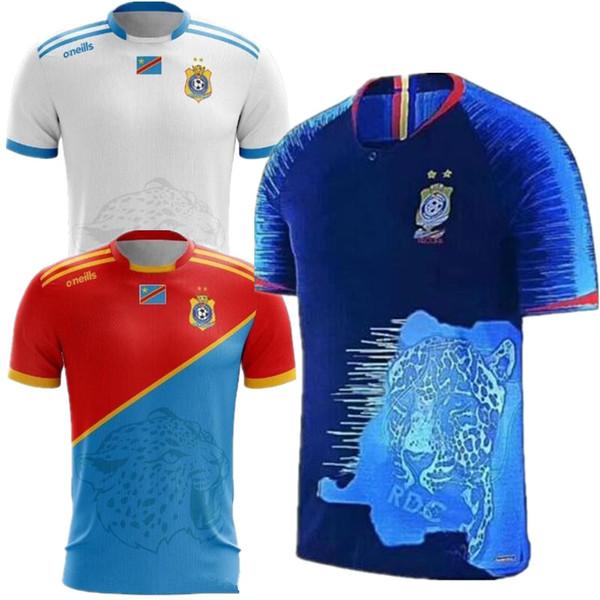 2019 Nacional Equipe de Futebol do Congo Camisa de Futebol Em Casa Vermelho Nkounkou Lakolo Makiese Obassi Fora camisa de Futebol Branco Congo 3 uniforme de Futebol Azul