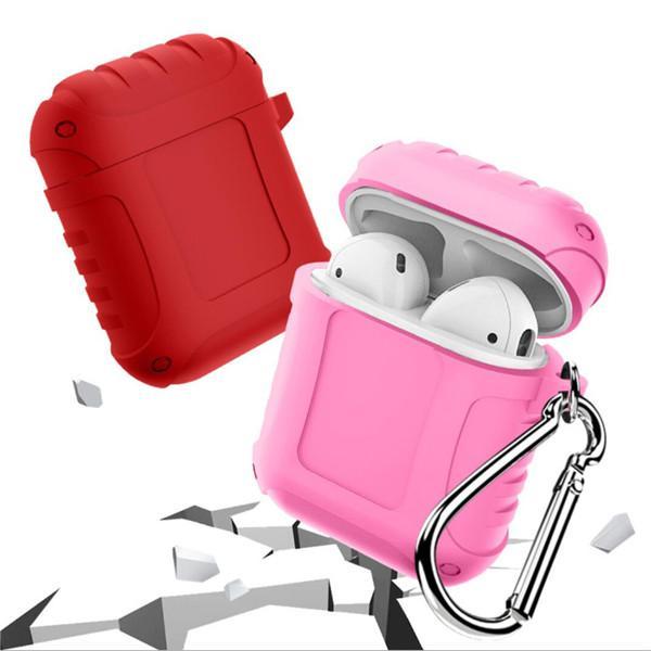 Para Apple Airpods con mosquetón Funda de silicona a prueba de choques luminosa Funda protectora ultra delgada protectora Funda para vainas de aire Estuche para auriculares