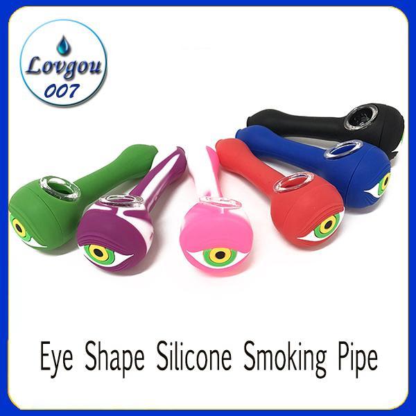 Tubo para fumar de silicona en forma de ojo Con recipiente de vidrio Cuchara Tubos de mano Cuchillo portátil irrompible Cuchara con recipiente de vidrio 0266244
