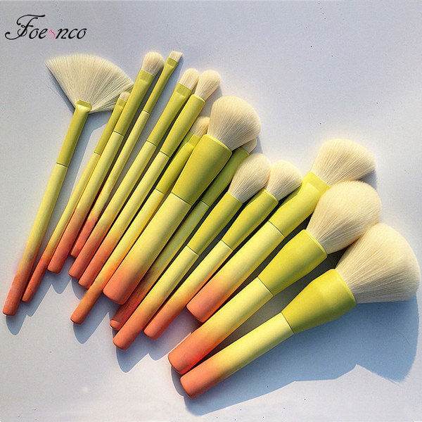 pro gradient color 14pcs makeup brushes set soft cosmetic blending foundation eyeshadow blush brush kit make up tools