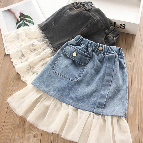 faldas de mezclilla para niñas faldas jeans de agujero faldas para niños ropa de diseñador para niñas falda de una línea niñas de moda ropa boutique de otoño A7529