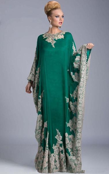 Venta caliente Abayas Dubai Kaftan Vestidos de noche Cuello alto Manga larga Musulmán Manga larga Vestido largo Estilo árabe Vestidos de noche Piso Longitud