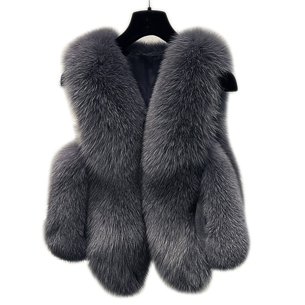 Winter Faux Fur Vest Women Jacket 2018 Coat Thick Warm Faux Fur Vest Outerwear Womens Fox Coat Female Plus Size 3XL
