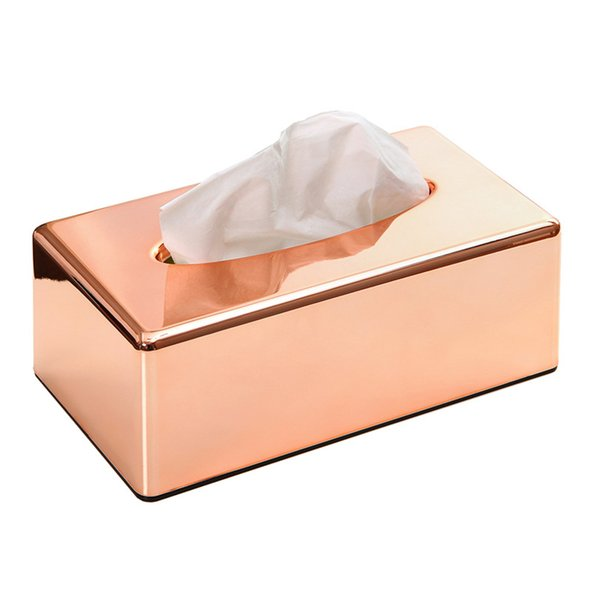 Dustproof Home Smooth Surface Decorations Car Antimoisture Waterproof Desk Tissue Box Solid Square Paper Organizers ABS Plated