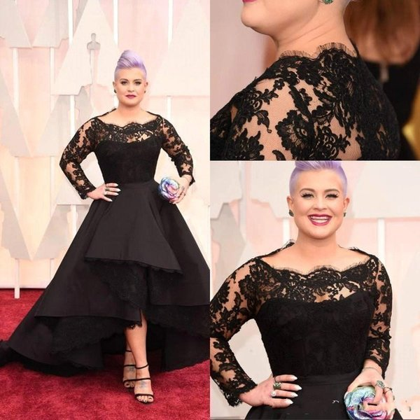 Oscar Kelly Osbourne Celebrity Dress Long Sleeves Lace Scallop Black Ball Gown High Low Red Carpet Sheer Evening Gowns