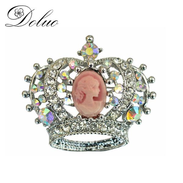 Doluo Design Crown Broschen Für Frauen Vintage Beauty Kopf mit Strass Kristall Mantel Broschen Pins Antik Silber Schmuck