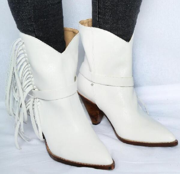 Hot Fashion Sexy Winter/Autumn White Sheepskin Mid-Calf Shoes Slip-On Pointed Toe Women's Shoe Spike Heels Fringe Ladies Boots