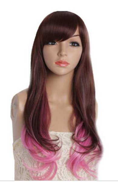FREE SHIPPING + Fashion Women Lolita Br own Pink Costume Cosplay Long Full Dance Party Wig
