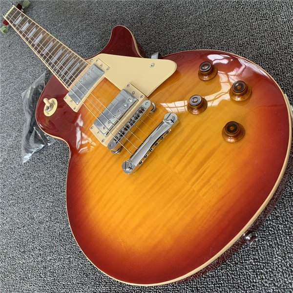 Electric guitar cherrybur t color lp c mahogany body and neck pre ented pick lp guitar mu ical in trument