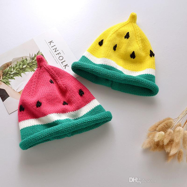 High Quality Baby Hat Knitted Cartoon Watermelon Kids Caps Winter Warm Unisex Boy Girl Hats Crochet Accessories