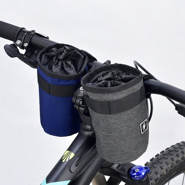 Cool Bicycle Handlebar Water Bottle Bag bike front tube Cup Holder 300D polyester fabric pouch with 3 magic stickers for Outdoor Cycling